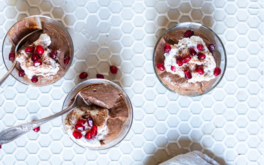 Vegan Chocolate Mousse with Coconut Whipped Cream