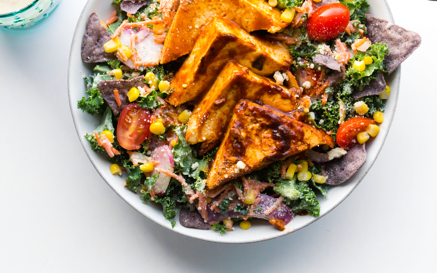 BBQ Tofu Corn Kale Salad with Creamy Silken Tofu Ranch Dressing