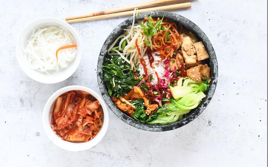 Vegan Korean Rice Bowl with Veggies and Tofu Bulgogi (Bibimbap)