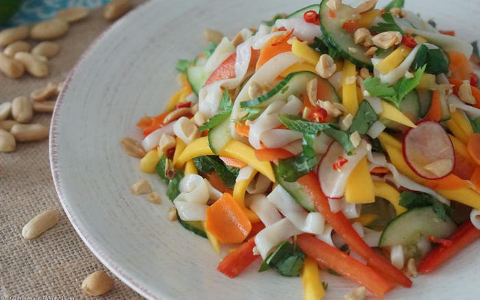 Asian Cold Noodle Salad with Mango and Pickled Vegetables