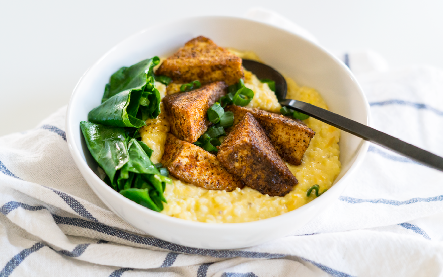 Blackened Tofu & Grits