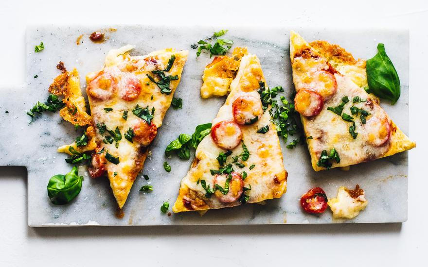 Cheesy Basil and Tomato Tofu Pizza Slices