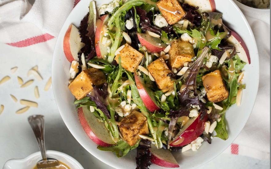 Crispy Almond Tofu and Apple Salad