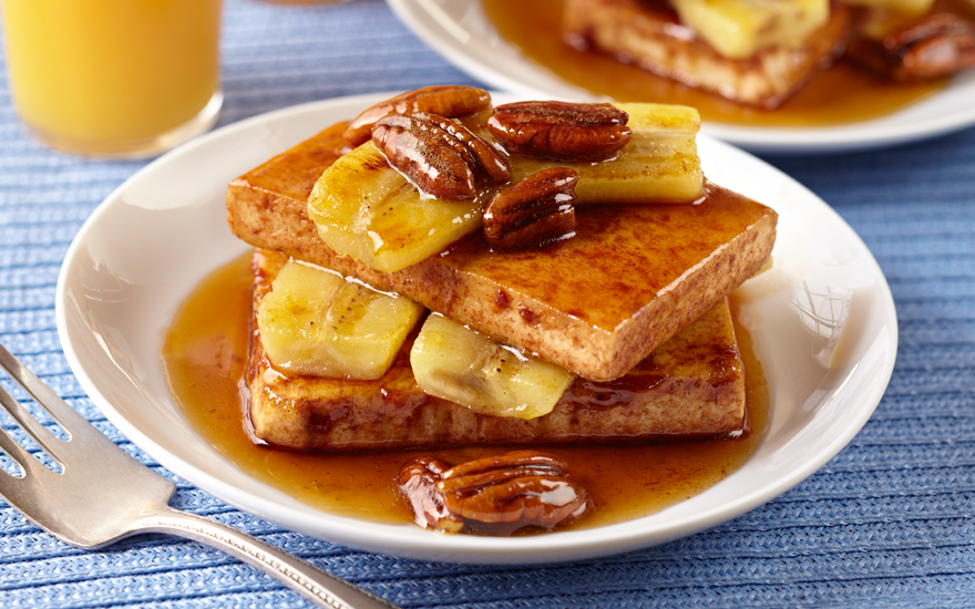French Toast Tofu with Maple Banana & Pecan