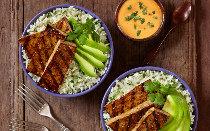 Grilled Balsamic Tofu with Cauliflower Cilantro Rice and Avocado