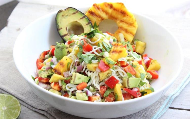 Grilled Pineapple and Avocado Shirataki Noodles