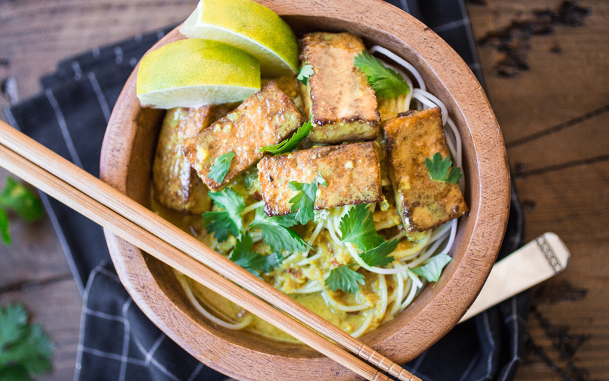 Indonesian Curry Tofu Noodle Bowl