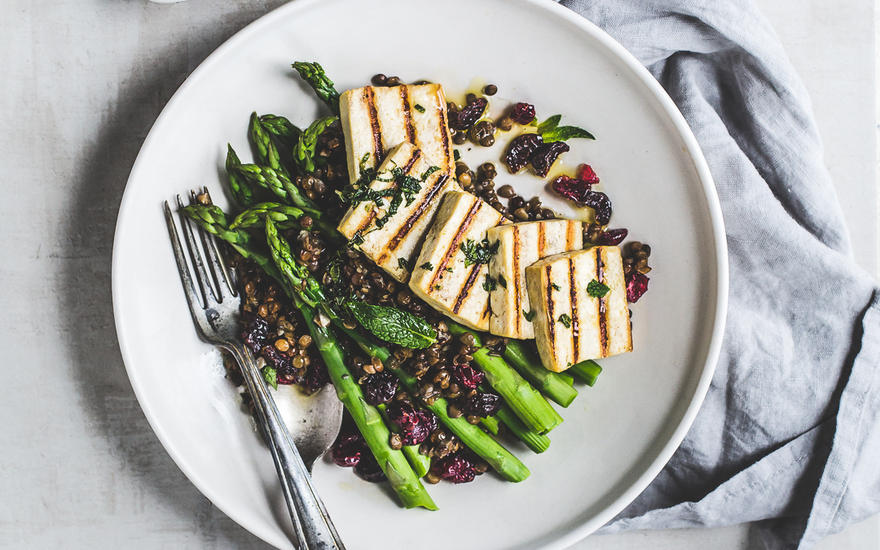 Lemony Tofu Lentil Salad with Asparagus and Dried Cherries