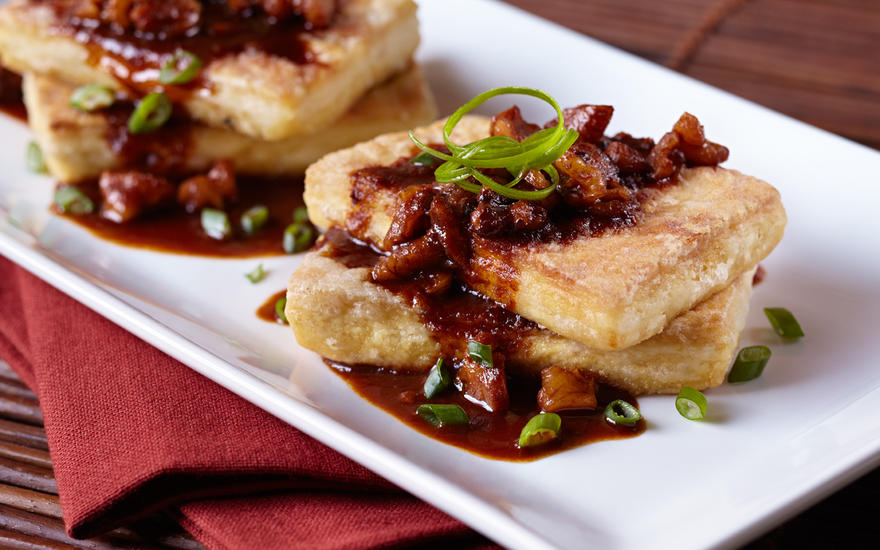 Tofu Steak with Sweet Spicy Walnut Sauce