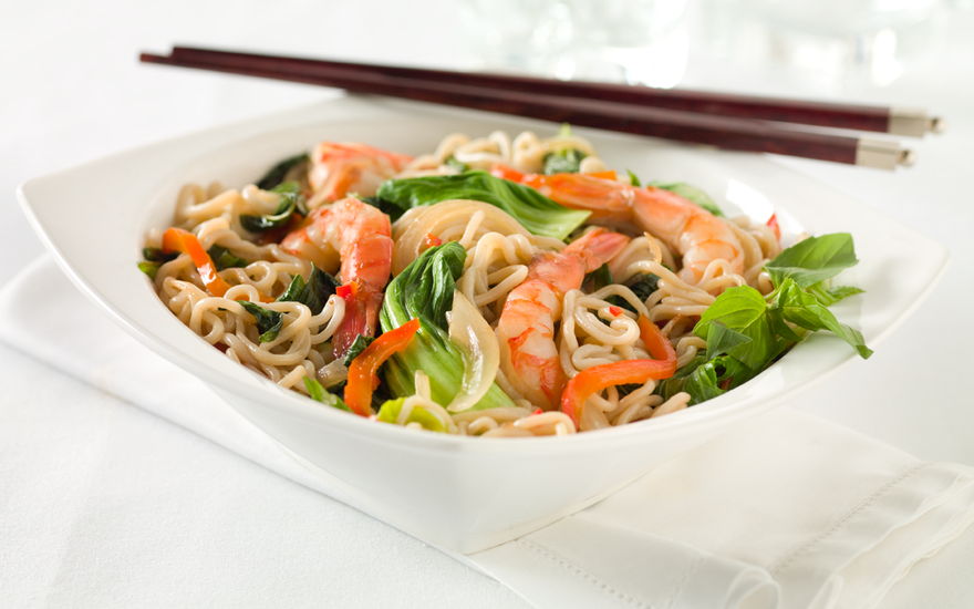 Tofu Shirataki Drunken Noodles with Shrimp